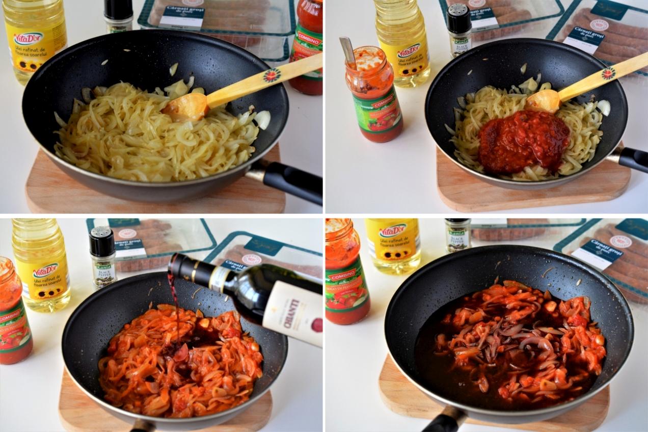 carnati cu sos de ceapa si vin