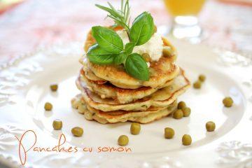 Pancakes cu somon si mazare