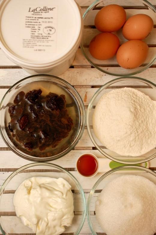 Ingrediente cheesecake cu branza de capra