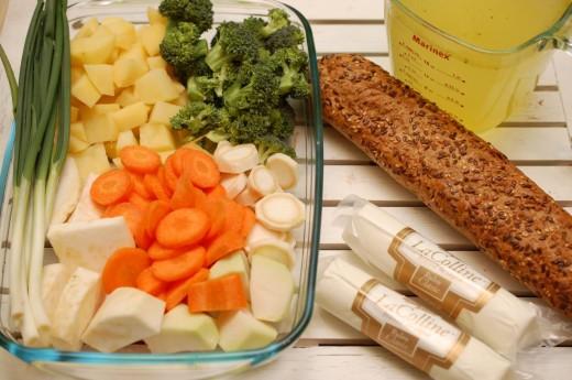 Ingrediente crema de leguma cu branza de capra