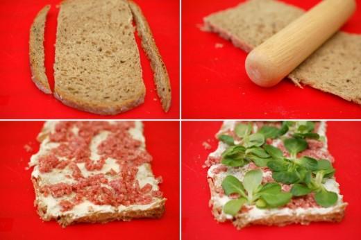 Preparare sandwich rulou cu cascaval felii