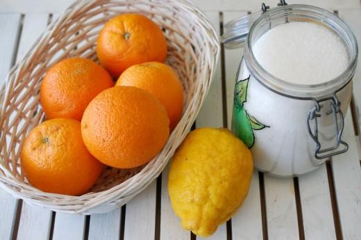 Ingrediente pentru gem de portocale