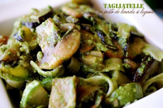 Tagliatelle cu pesto de leurda si legume