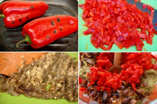 Preparare Salata de vinete cu ciuperci si kapia