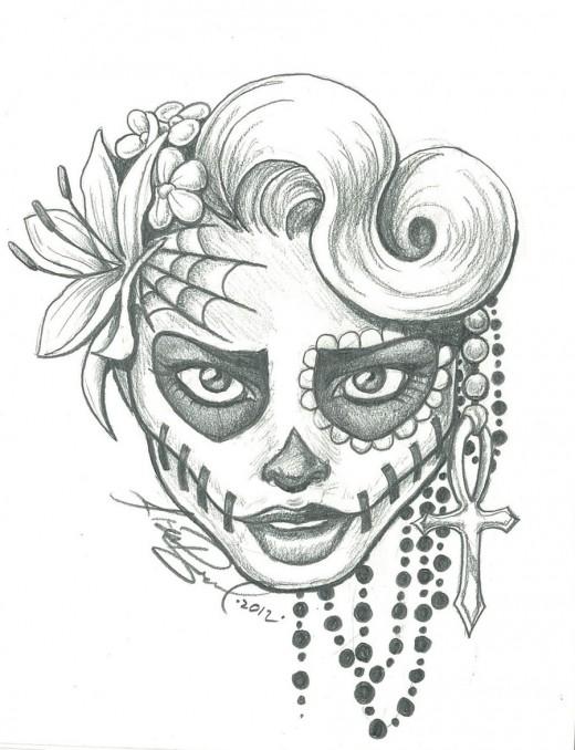 sugar_skull_two_by_leelab-d4yyhdt