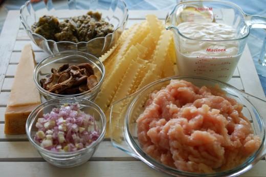 Ingrediente pentru Paste cu pui si vinete coapte