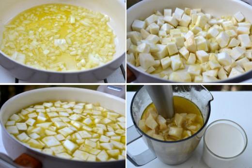 crema de telina cu gorgonzola si nuci caramelizate
