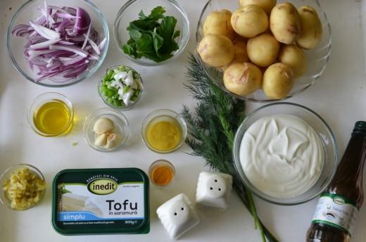salata de cartofi cu tofu jumari