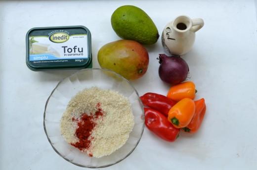 salata de mango cu tofu crocant