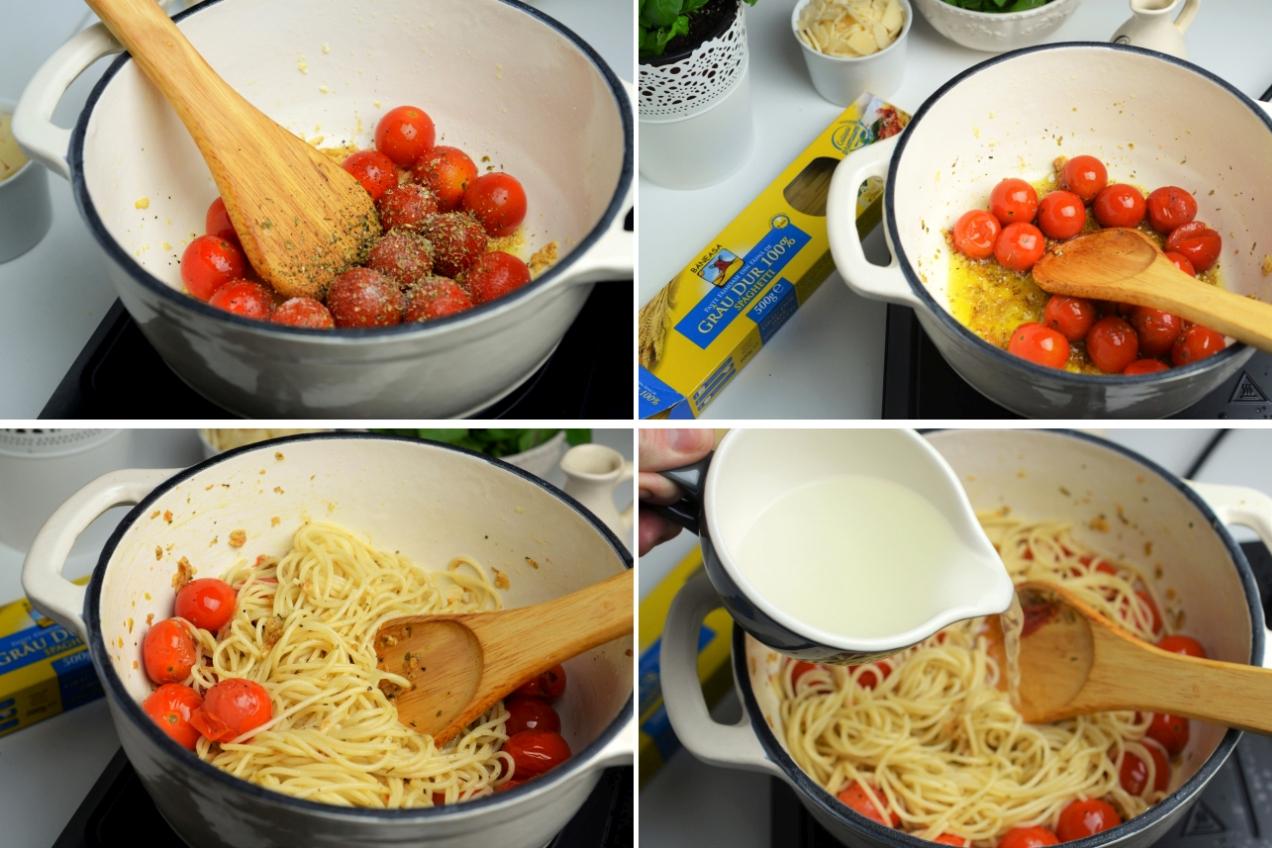 spaghetti cu spanac si rosii
