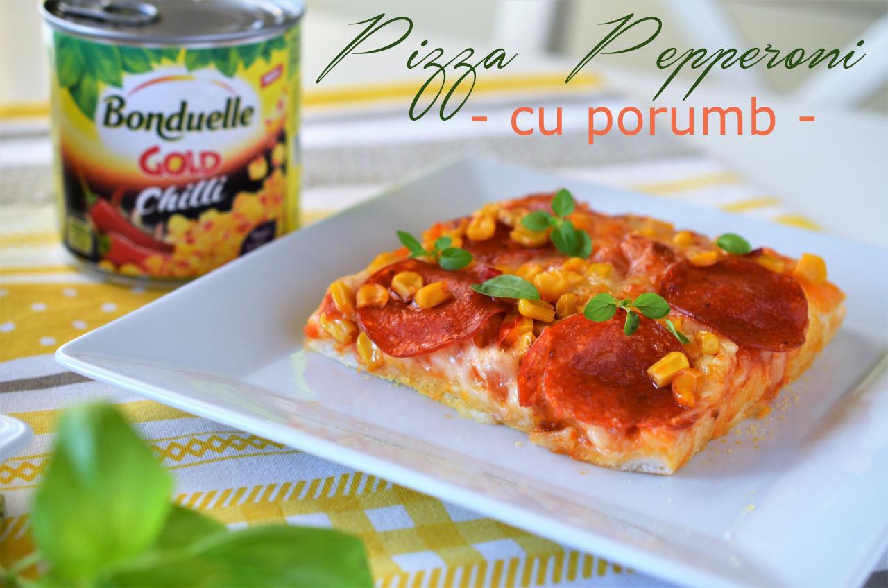 pizza pepperoni cu porumb