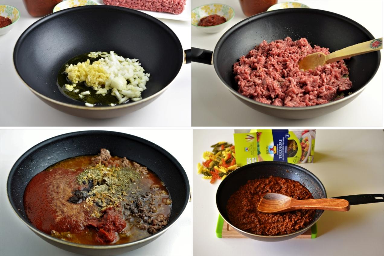 paste tricolore cu sos de carne