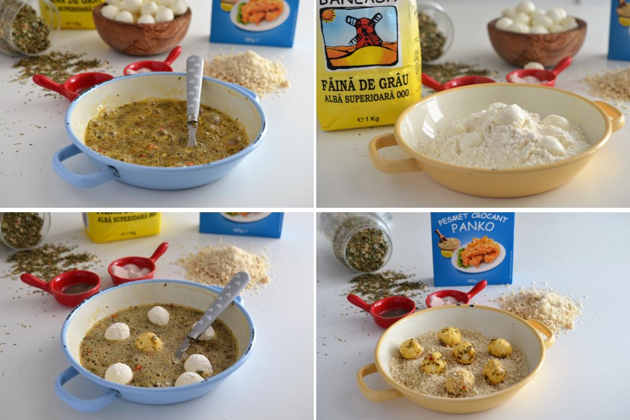 preparare frigarui cu mozzarella pane
