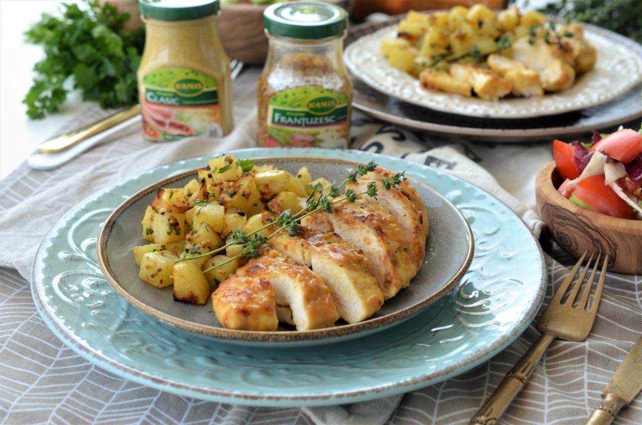 Cartofi la cuptor cu mustar si piept de pui
