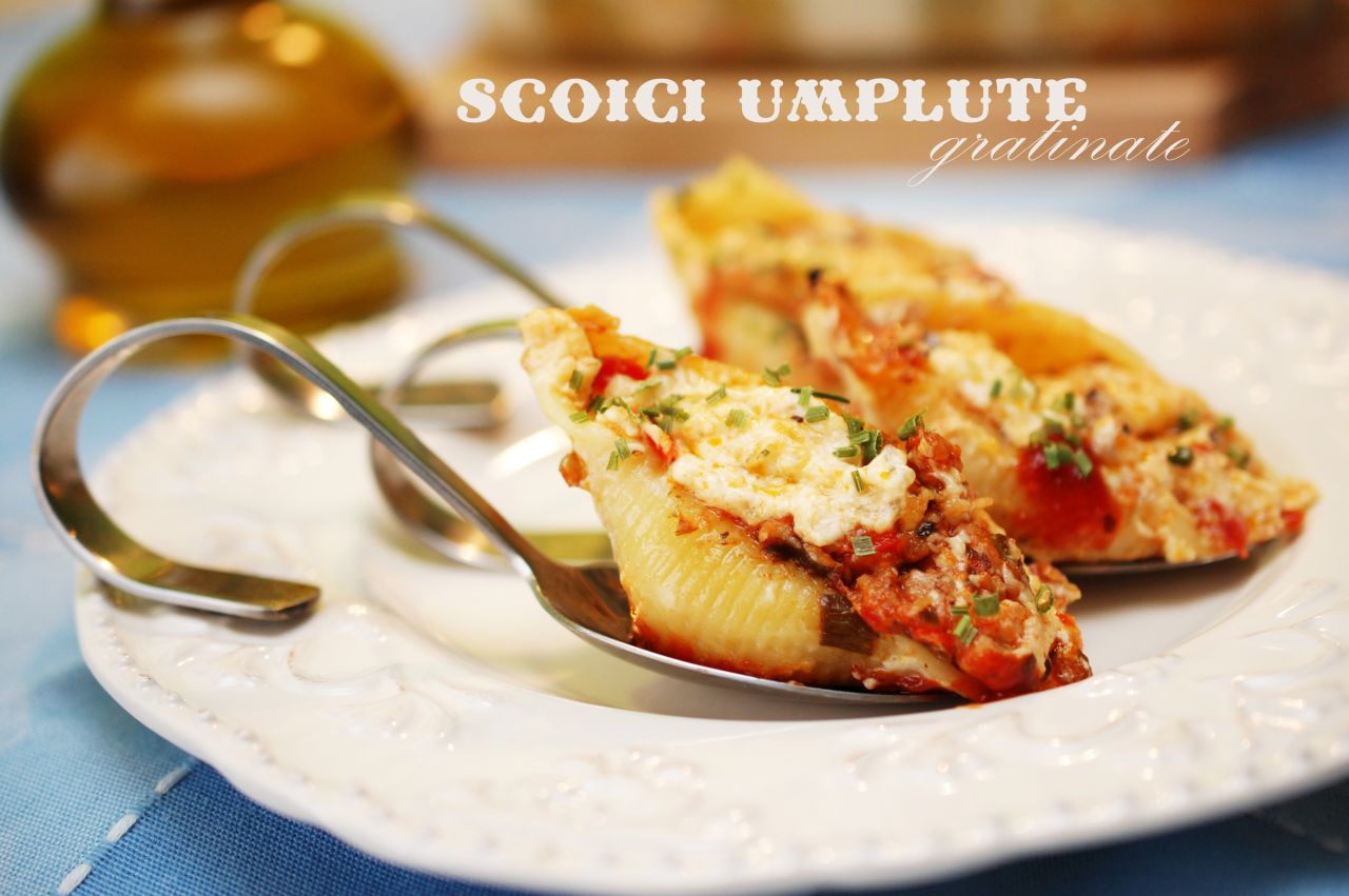 Paste scoici umplute gratinate